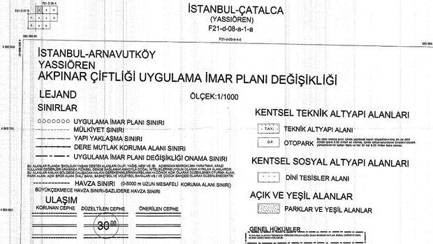 Arnavutköy Akpınar Çiftliği imar planı askıda!