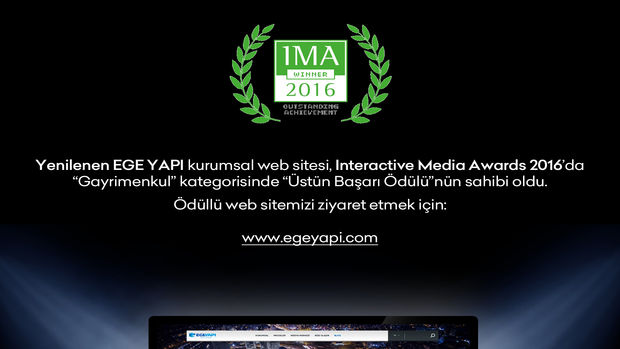 Ege Yapı'nın Kurumsal İnternet Sitesine Ödül